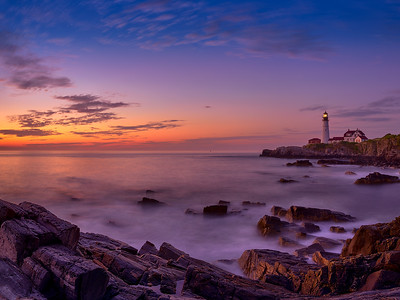 Portland Head Light at sunrise (4:52 AM) on July 28, 2012 at Fort Williams Park in Cape Elizabeth, Maine. This high-resolution image comprises eight (8) photos bracketed at five (5) exposures each, stitched together and blended to form a high dynamic range panorama of the pre-dawn light.  The resulting image is 115 megapixels.