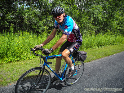 Jerry Smith cruises on Rail-Trail between Sanford and Coleman.