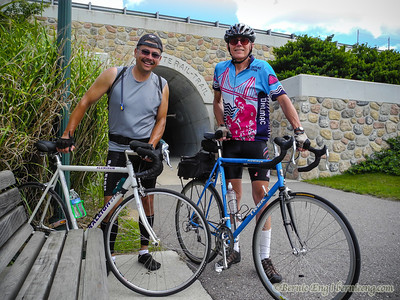 Jerry Smith and I stopped for a quick pic on the west end of the Clare tunnel on the Pere Marquette Rail-Trail. This tunnel was marked 2007 on the cornerstone.