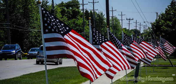 Flag Day in front of The Church of Jesus Christ of Latter-Day Saints on Center Road in Saginaw Township.