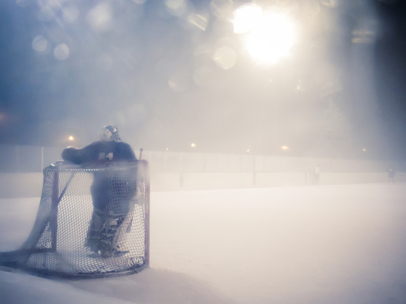 Foggy night with Chicago Outdoor Hockey League game at Warren Park, Chicago. Photo by Megan Bearder