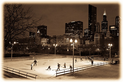 Secret Hockey- for over 35 years players descended upon the Daley Bicentennial Rink (east of Millenium Park and hidden) to play through the night. The Park District recently destroyed the rink. Contact megan@meganbearder.com to see how you can have a voice in Chicago rebuilding a rink for outdoor pick-up hockey.
