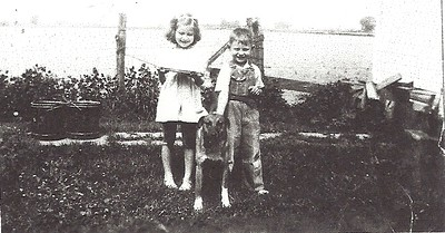 Carol and Charles Hilton (1945?) - with Brownie the dog
