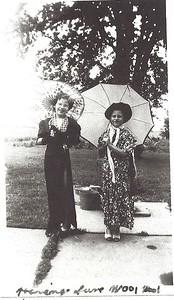 Carol and Charles Hilton (1947?) - playing dress up