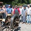 Workers pose after two long days of putting the Climax tires on the wheels. Photo by: Tim Martin