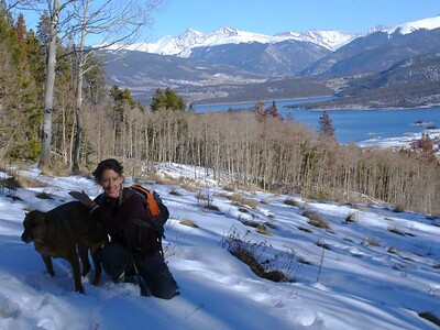 Donna and Hoover on our very first hike together near Frisco. Lake Dillon is in the background.