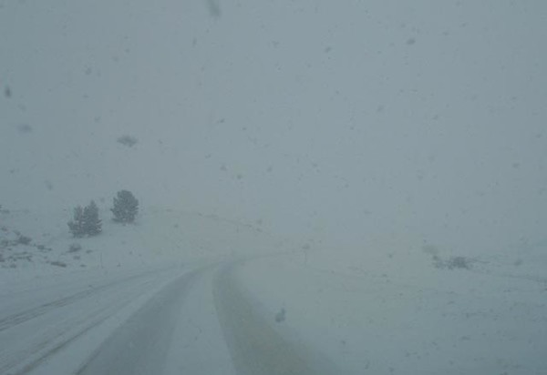 La Veta Pass, CO in the snow (not a good evening to be on the road).