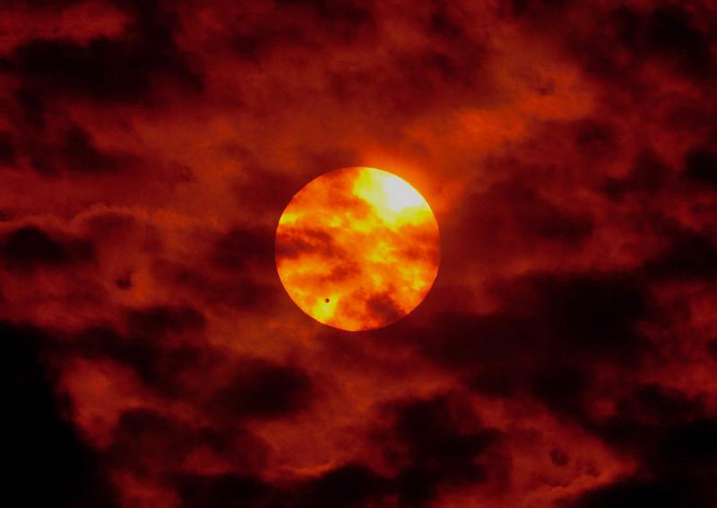 Venus Transit of Sun 2012 - In a nice cloud pattern