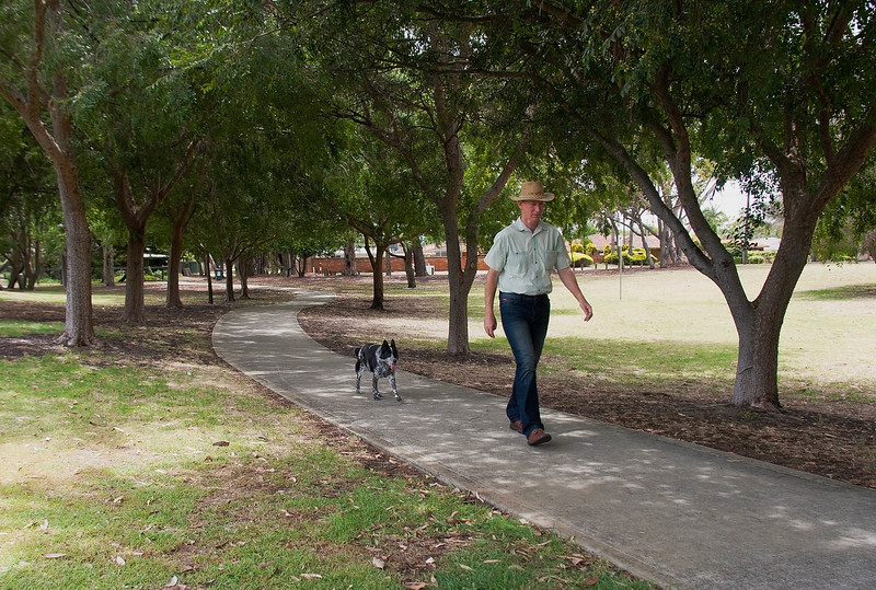 Geoff and Cinders walking in Jennings Park