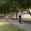 Geoff and Cinders walking in Jennings Park