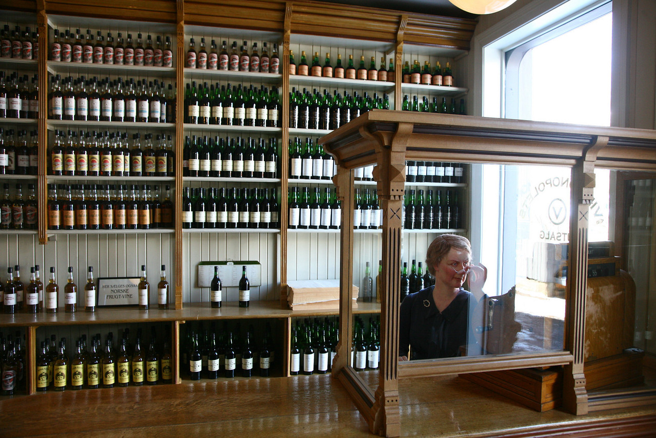 A model of the wine store from the 20's. The lady looks very stern.