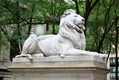"The famous lions guarding the entrance were sculpted by Edward Clark Potter. They were originally named Leo Astor and Leo Lenox, in honor of the library's founders. These names were transformed into Lord Astor and Lady Lenox (although both lions are male). In the 1930s they were nicknamed ""Patience"" and ""Fortitude"" by Mayor Fiorello LaGuardia. He chose these names because he felt that the citizens of New York would need to possess these qualities to see themselves through the Great Depression. Patience is on the south side (the left as one faces the main entrance) and Fortitude on the north."