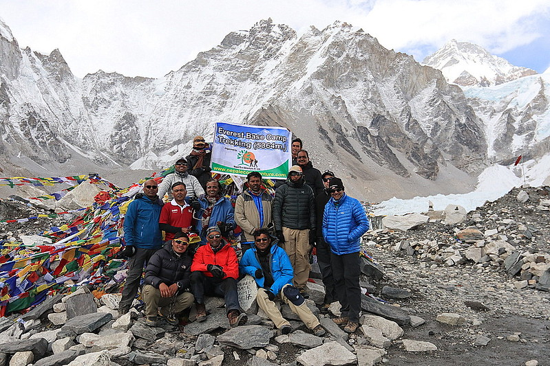 We all successfully reached the base camp - 17598 ft