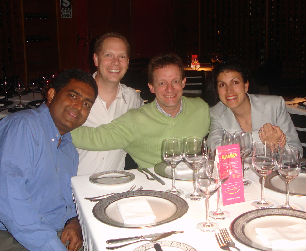Ramana Kolluri, Scot, John Digweed, and Allison Kahl at Astrid y Gaston, Lima, Peru