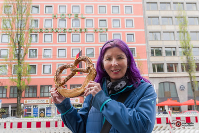 In Munich, we had to get a pretzel bigger than your face.