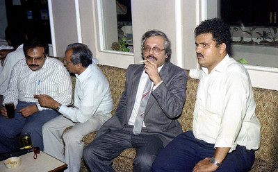 "Nandkishore Bajaj, Harshad Patel, Vijay Mukhi, Editor Mid-day newspaper at launch party of ""War on Virus"" Book Cover. A book by Harsh Javeri & Suchit Nanda for MUC (Microcomputer Users Club) and published by Computer Bookshop."