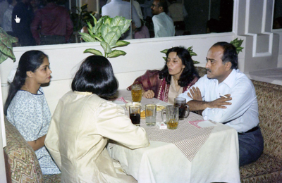 """Swarup, Madhavi, Mini, Puchi. Celebrations at the launch of """"War on Virus"""" Book Cover. A book by Harsh Javeri & Suchit Nanda for MUC (Microcomputer Users Club) and published by Computer Bookshop."""