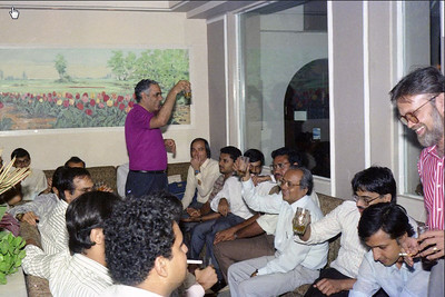 "Toast from Raji Anand. Celebrations at the launch of ""War on Virus"" Book Cover. A book by Harsh Javeri & Suchit Nanda for MUC (Microcomputer Users Club) and published by Computer Bookshop."