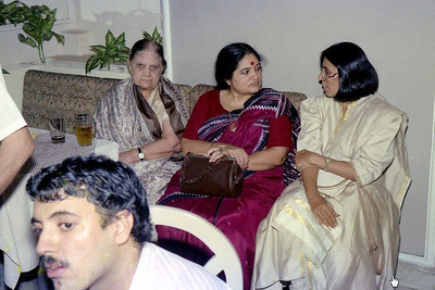 "Right to Left: Swarup (Javeri), Sharda Nanda (Suchit's mom), Naniji (Suchit's Grandmother) & Manu (Suchit's brother) in the oreground. Celebrations at the launch of ""War on Virus"" Book Cover. A book by Harsh Javeri & Suchit Nanda for MUC (Microcomputer Users Club) and published by Computer Bookshop."
