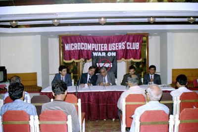 "Suchit, Harsh, S P Merchant, Rustom & Amin (Computer Bookshop) at the press interaction at launch of ""War on Virus"" Book Cover. A book by Harsh Javeri & Suchit Nanda for MUC (Microcomputer Users Club) and published by Computer Bookshop."