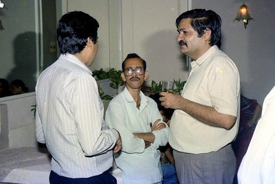 "Ravi Vazirani, Mahesh Naik & Ramesh Wadhwa. Celebrations at the launch of ""War on Virus"" Book Cover. A book by Harsh Javeri & Suchit Nanda for MUC (Microcomputer Users Club) and published by Computer Bookshop."