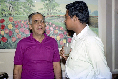 """Raji Anand interacting with the press. Celebrations at the launch of """"War on Virus"""" Book Cover. A book by Harsh Javeri & Suchit Nanda for MUC (Microcomputer Users Club) and published by Computer Bookshop."""
