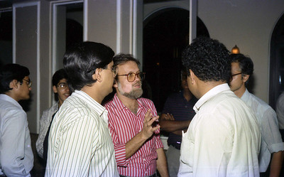 "Harsh talking wtih the guests at launch of ""War on Virus"" Book Cover. A book by Harsh Javeri & Suchit Nanda for MUC (Microcomputer Users Club) and published by Computer Bookshop."