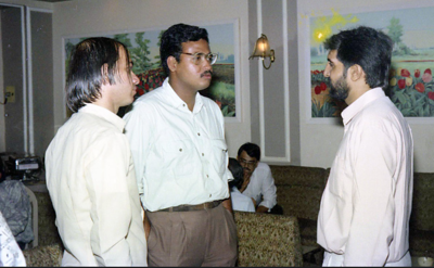 "Aziz Shroff (Computer Bookshop) interacting with members of the press. Celebrations at the launch of ""War on Virus"" Book Cover. A book by Harsh Javeri & Suchit Nanda for MUC (Microcomputer Users Club) and published by Computer Bookshop."