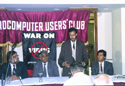 "Harsh, S P Merchant, Rustom & Amin (Computer Bookshop) at the press interaction at launch of ""War on Virus"" Book Cover. A book by Harsh Javeri & Suchit Nanda for MUC (Microcomputer Users Club) and published by Computer Bookshop."