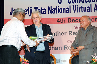 "Dr. Ashok Jhunjhunwala receing a copy of the books from Dr. Bruce Alberts.  Dr. Bruce M. Alberts, Editor-in-Chief of Science (AAAS) and Prof. M. S. Swaminathan releasing the two books ""Reaching the Unreached"" and ""Transformative Impact of ICT""at the 6th Convocation of Jamsetji Tata National Virtual Academy (NVA) Fellows, 4th December, 2009 organized by M S Swaminathan Research Institute (MSSRF) (Chennai) at CLRI, Chennai, TN."