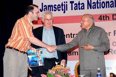 "Richard Stone receiving the first copy of ""Transformative Impact of ICT"" from Dr. Bruce M. Alberts, Editor-in-Chief of Science (AAAS) and Prof. M. S. Swaminathan who released the two books ""Reaching the Unreached"" and ""Transformative Impact of ICT""at the 6th Convocation of Jamsetji Tata National Virtual Academy (NVA) Fellows, 4th December, 2009 organized by M S Swaminathan Research Institute (MSSRF) (Chennai) at CLRI, Chennai, TN."