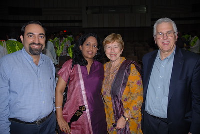 "Thanks Richard Stone for this picture: Suchit, Anu with Betty and Bruce Alberts at the book release of ""Reaching the Unreached"" and ""Transformative Impact of ICT"" and 6th Convocation of Jamsetji Tata National Virtual Academy (NVA) Fellows, 4th December, 2009 organized by M S Swaminathan Research Institute (Chennai) at CLRI, Chennai, Tamil Nadu, India."