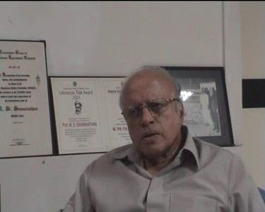 "Interview of Prof. M. S. Swaminathan by Prof. Arunachalam in MSSRF, Chennai when working on the two books ""Reaching the Unreached"" and ""Transformative Impact of ICT"" on 9th September, 2009. Location: M S Swaminathan Research Institute (Chennai), Tamil Nadu, India. [Part 3 of 4]"