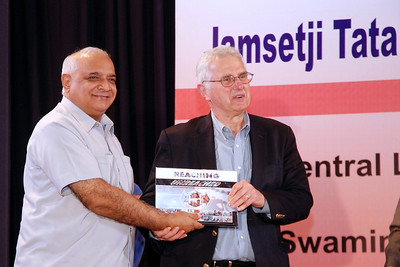 "Dr. Bruce M. Alberts, Editor-in-Chief of Science (AAAS) and Prof. M. S. Swaminathan releasing the two books ""Reaching the Unreached"" and ""Transformative Impact of ICT""at the 6th Convocation of Jamsetji Tata National Virtual Academy (NVA) Fellows, 4th December, 2009 organized by M S Swaminathan Research Institute (MSSRF) (Chennai) at CLRI, Chennai, TN."