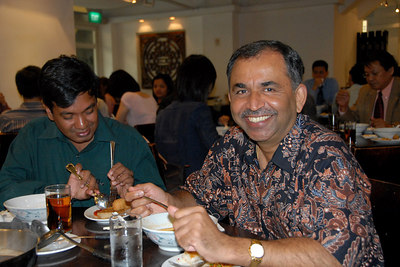 Sriramesh is obviously very happy with the food and is all smiles.