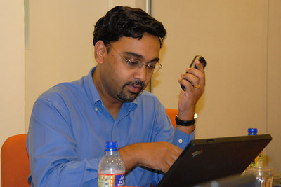 Rajesh Sreenivasan is a lawyer specializing in ICT and as we joked doing $400+ an hour of consulting business round the clock (24x7) and even on his Blackberry!
