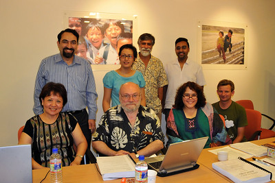 "Editorial Board meeting of ""Digital Review of Asia Pacific"" (DirAP) 2009-10 at IDRC's Chinatown office in Singapore on 2nd March, 2008.  Sitting from Left to Right: Maria, Claude-Yves, Millie, Danny Standing from Left to Right: Suchit, Patricia, Shahid, Rajesh"