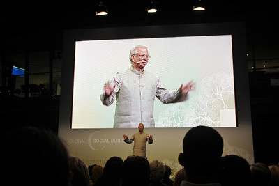Prof. Yunus Nobel Peace Prize Laureate Prof. Muhammad Yunus of Grameen Creative Labs, at Globale Social Business Summit in Wolfsburg, Germany.