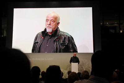 The author Paulo Coelho at the Global Social Business Summit, in Wolfsburg, Germany.