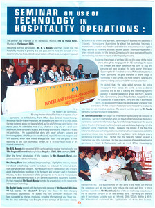 http://www.hrawi.com  Hotel & Restaurant Association (Western India) organized seminar on Technology at which I made a presentation. Report in the HRAWI newsletter. Page 1.