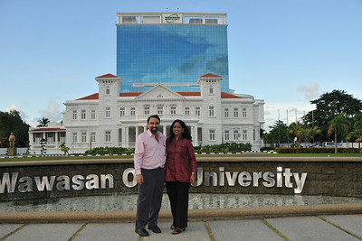 Anu & Suchit Nanda at Wawasan Open University, Penang, Malaysia. IDRC's PAN ALL 2009 CONFERENCE, Penang, Malaysia. 12-14 June, 2009. Canadian International Development Research Centre organized 3rd PAN (PAN Asia Networking) All partners' conference held in Penang to bring together its research partners in the Asian region. More than 150 participants, including project and sub-project leads, representatives from PAN research networks, targeted global researchers in ICTD, key regional practitioners and researchers, evaluators, donors and relevant IDRC staff attended the conference held at Wawasan Open University (WOU). For more details see:  http://www.idrc.ca/pan/ev-136463-201-1-DO_TOPIC.html  and http://panall.crowdvine.com/   Not sure if it was Jai Ganesh (I think) or Sreeramesh who took this picture for us - either way thank you!