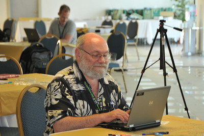 Claude-Yves Charron hard at work. IDRC's PAN ALL 2009 CONFERENCE, Penang, Malaysia. 12-14 June, 2009. Canadian International Development Research Centre organized 3rd PAN (PAN Asia Networking) All partners' conference held in Penang to bring together its research partners in the Asian region. More than 150 participants, including project and sub-project leads, representatives from PAN research networks, targeted global researchers in ICTD, key regional practitioners and researchers, evaluators, donors and relevant IDRC staff attended the conference held at Wawasan Open University (WOU). For more details see:  http://www.idrc.ca/pan/ev-136463-201-1-DO_TOPIC.html  and  http://panall.crowdvine.com/