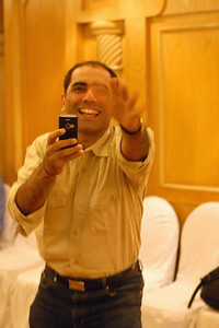 Shantibhai Chande testing the camera feature of his new phone at MT Educare Stategic Planning Workshop at Taj Residency, Nashik on 4th Oct 2007.