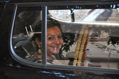 Roopal and Neel leaving their home for the reception venue of the marriage reception of Parthiv (s/o Roopal & Kushal Mehta) & Neha (d/o Heena & Shailesh Kapadia) in Ahmedabad on 22nd December 2009.