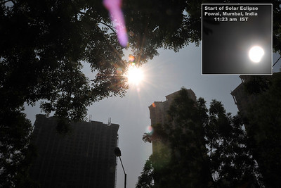 Longest solar eclipse of the millennium. The path of annularity in India passed over the states of Kerala, Tamil Nadu and Mizoram, while the partial phase of eclipse was visible all over the country including Powai, Mumbai.