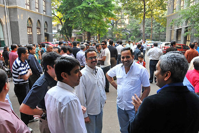 Sajid Desai and other school friends talking with Aiaz.  Old friends meet in the school ground at the appointed time of 4 pm.  St. Xavier's High School - Batch of 1984 25 YEAR REUNION meeting held on 27th December, 2009 at the School in Dhobi Talao, Mumbai.