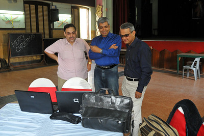 All systems go - presentation on the laptop L2R - Zubin Gandhi, Aiaz (moi-meme), Ashok Mehta  Preparations before the event. St. Xavier's High School - Batch of 1984 25 YEAR REUNION meeting held on 27th December, 2009 at the School in Dhobi Talao, Mumbai.