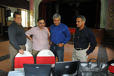 Dinar, Zubin, Aiaz, Ashok Mehta at the preparations before the event. St. Xavier's High School - Batch of 1984 25 YEAR REUNION meeting held on 27th December, 2009 at the School in Dhobi Talao, Mumbai.