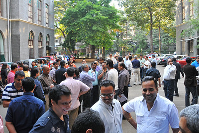 Old friends meet in the school ground at the appointed time of 4 pm.  St. Xavier's High School - Batch of 1984 25 YEAR REUNION meeting held on 27th December, 2009 at the School in Dhobi Talao, Mumbai.