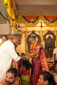Lakshmi at the start of her wedding. Pictures from the wedding of Jay (s/o Swarup & Harsh Javeri) & Lakshmi (d/o Gayatri & Govindrajan) held at Sri Ahobila Mutt Hall, Chembur, Mumbai.  The venue is a sacred place consecrated by His Holiness Srivan Satakopa Sri Vedanta Desika Yatindra Mahadesika (the 44th Jeeyar of Sri Ahobila Mutt).